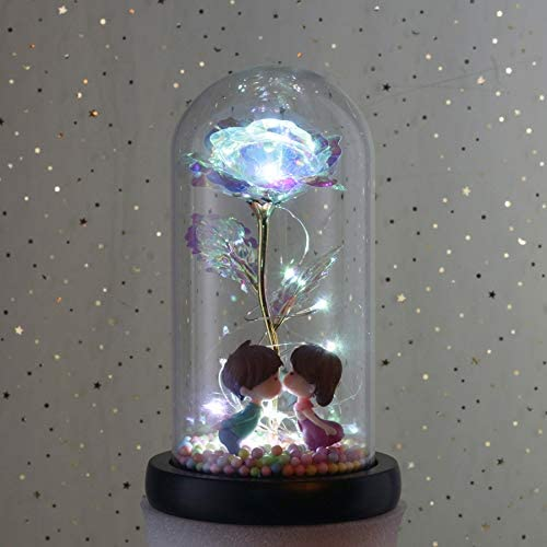 Crystal Galaxy Rose in the Glass Dome 20 led Lights Gift for Mom Wife Girlfriend