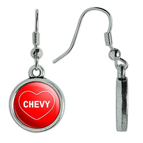 Novelty Dangling Drop Charm Earrings I Love Heart Names Male C Cayd - (Chevy Charm)