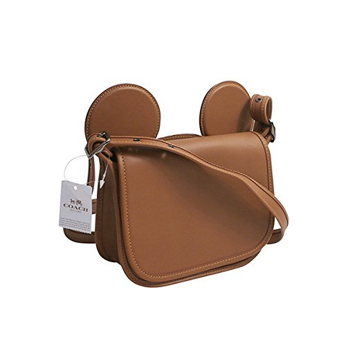 SADDLE EARS WITH LEATHER MICKEY F59369 SADDLE NICKEL ANTIQUE IN GLOVE PATRICIA COACH CALF 5xqwY8gYX