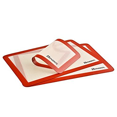 Homdox Silicone Baking Mat Set,Pan and Oven Sheet Liner,Heat Resistant Anti Slip and Non stick,Set of 3
