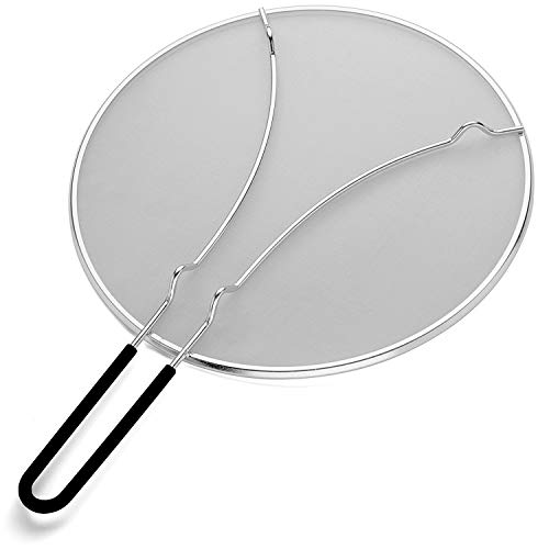 K BASIX Splatter Screen for Cooking 13 - Silicone Handle - Stops Hot Oil Splash - Protects Skin from Burns - Grease Guard for Frying Pan Keeps Your Kitchen Clean - Heavy Duty Ultra Fine Mesh
