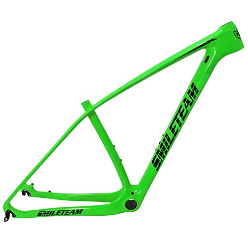 Smileteam 29er Green Glossy Carbon Fiber Mountain Bike Frame DI2 & Machinery 135x9 QR and 142x12mm Thru Axle Compatible MTB Carbon Frame
