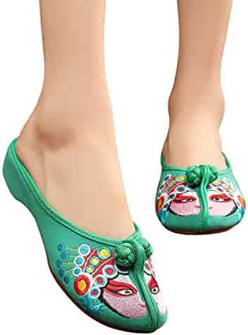 e8bf71bb8 CINAK Embroidered Shoes- Mule Flats Shoes Backless Slipper Comfortable  Loafer Embroidery Slip on