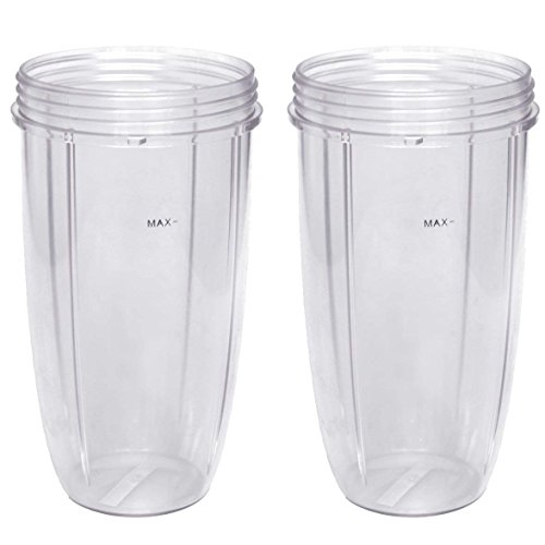 - Nutribullet Blender 24 oz Tall Cup (2-Pack) | Two Large Premium Boder Plastic Replacement Container for Pro 900 Watt or 600 Blenders