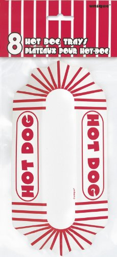 Red & White Striped Paper Hot Dog Trays, 8ct