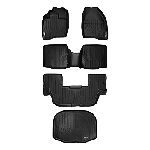 MAXFLOORMAT Floor Mats (3 Row Set) and MAXTRAY Cargo Liner for Ford Explorer With 2nd Row Center Console 2015-2016 Black (Row Console Cargo)