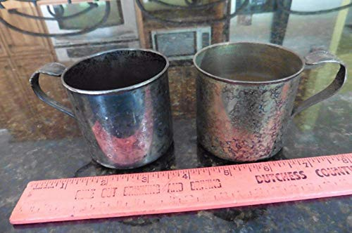 2 Antique Cups International Silver Co Sippy baby cup spoon handle Silverplate