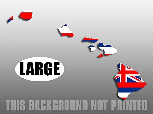 Large Hawaiian Islands Shaped Hawaii State Flag Sticker hi Native oahu