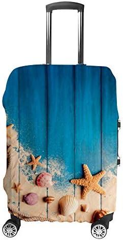 スーツケースカバー 伸縮素材 トランク カバー 洗える 汚れ防止 キズ保護 盗難防止 キャリーカバー おしゃれ サンド ボード シェル柄 ポリエステル 海外旅行 見つけやすい 着脱簡単 1枚入り