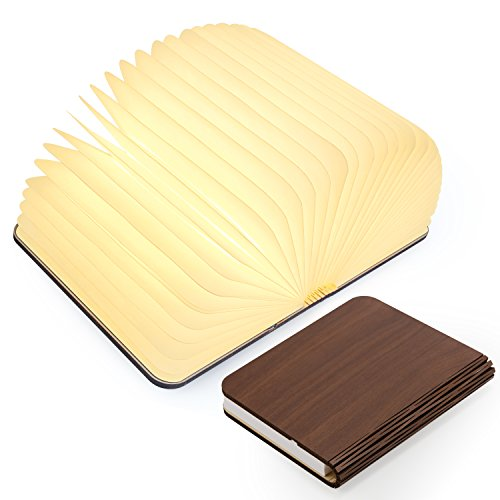 Wooden Folding Book Light, Magicfly USB Rechargable Book Shaped Light 4 Colors Led Desk Table Lamp for Decor, Magnetic Design- Creative gift for Valentine's Day
