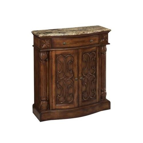 Stein World Furniture William Cabinet, Aged Pecan with Brown Calico Marble Calico Marble