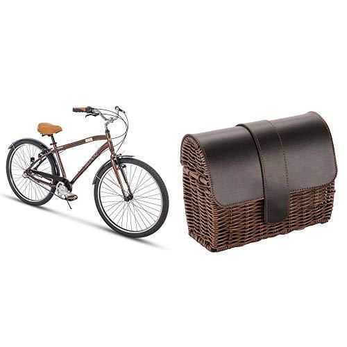 "Huffy 27.5"" Brown 3-Speed Commuter Bike Bundle with Wicker Handlebar Basket"