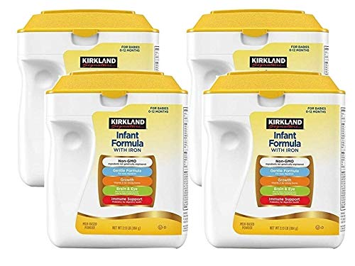 Kirkland Signature Non-GMO Gentle Infant Formula With Iron and 2-FL HMO, for Immune Support, Baby Formula Powder 34-Ounce, Scoop Included (Pack of 4)