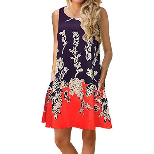 (TANGSen Women Summer Sleeveless O Neck Dress Fashion Floral Printed Pockets Sundress Loose Casual Swing Dress Orange)