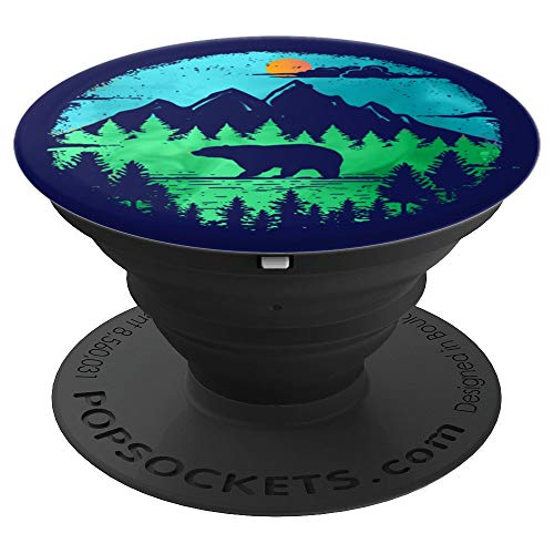 Tree Wild Animal - Bear Mountain Landscape Wild Animal Silhouette - PopSockets Grip and Stand for Phones and Tablets