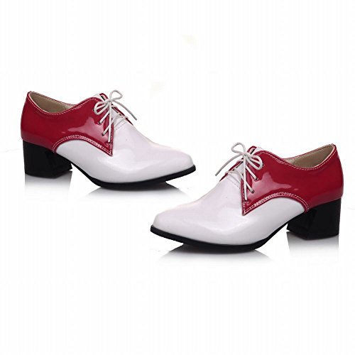 Latasa Womens Fashion Two-toned Lace-up Chunky Mid-heel Oxfords Shoes Red