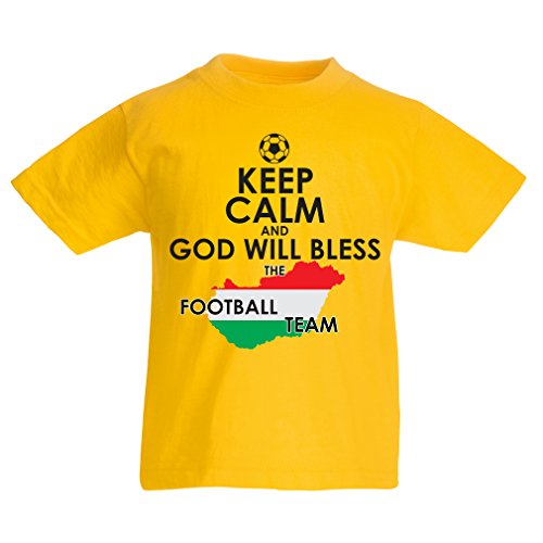 fan products of lepni.me N4487K Kids T-Shirt Keep Calm and God Will Bless The Hungarian Football Team ! (3-4 Years Yellow Multicolor)