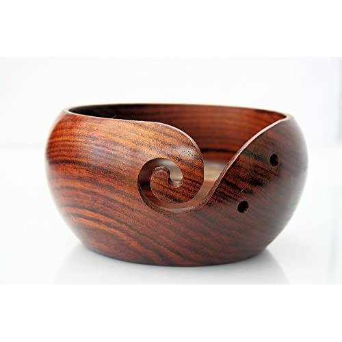 NAUTICALMART Rosewood Crafted Wooden Yarn Storage Bowl With Carved Holes & Drills | Knitting Crochet Accessories