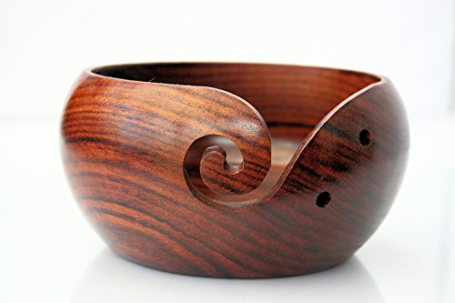 "Wooden Yarn Bowl 7""X4"" Large - Crochet Yarn Bowl - Perfect Yarn Holder Bowl for Knitting and Crocheting, Handmade from Rosewood - Sheesham Wood ,Heavy & Sturdy (7"