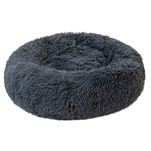 Calming Shag Vegan Fur Donut Cuddler Round Comfortable Cat and Dog Cushion Bed Ultra Soft Self-Warming and Cozy for Improved Sleep (Dark Blue, XL) ()