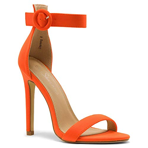 Herstyle Charming Women's Open Toe Ankle Strap Stiletto Heel Dress Sandals Elegant Wedding Party Shoes OrangeNeon 6.0