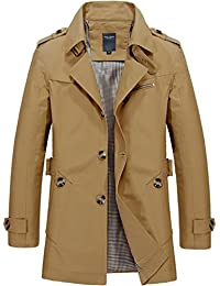 Sawadikaa Men's Single-Breasted Cotton Lightweight Jacket Windbreaker Wind Trench Coat Outdoor Jacket