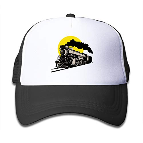 (Z Cheing Steam Train and Railway Mesh Baseball Cap Funny Kids Truckers Hats Boy and Girls Black)