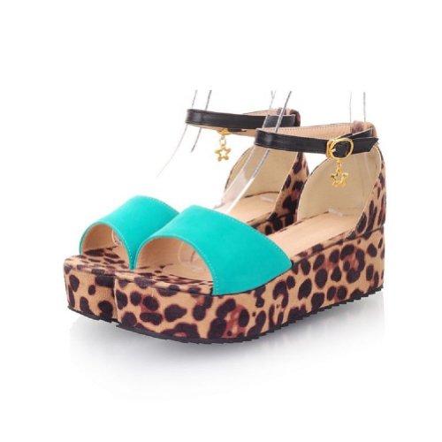 Carol Shoes New Womens Platform Wedge Heel Open Toe Sandal (10, Blue)