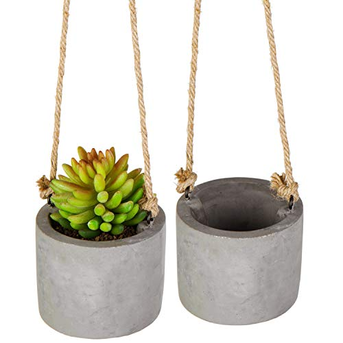 MyGift 4 Inch Modern Clay Hanging Mini Planter Pots with Rope, Set of 2