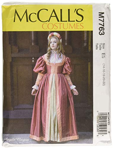 McCall's Patterns M7763 E5 Misses' Renaissance Dress and Skirt by Angela Clayton, Size 14-22 -