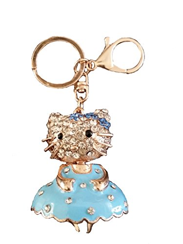 Hello Kitty With Cute Skirt rhinestone keychain, Car key ring, Handbag Purse accessories (Blue) (Hello Kitty Blue)