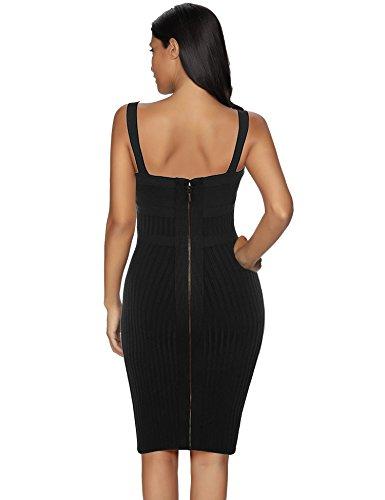 Strap Women's Dress Evening Party Rayon Bandage Black Celebrity Meilun 4Ra7Eqx