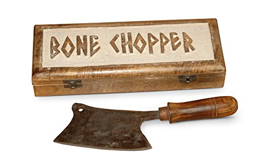 A Tribute to Vintage Art of Blacksmithing - Artisan Handmade Heavy Duty Blade Barbecue Bone Chopper Butcher Knife, Meat Cleaver to Process Pig, Sheep and Goat, Pizza Cutter. Works Like an Axe. ()