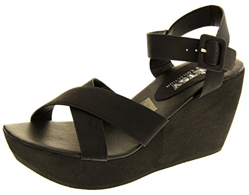Footwear Studio Betsy Ladies Wedge Platform Sandals Heels Black