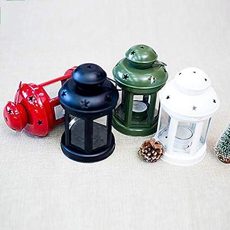 casa Fablcrew Ornamento Vintage per Supporto Candela 1 Lanterne in Metallo Camera Bianco 10 * 21.5CM Metallo Matrimonio Decorazione da Tavolo Esterno