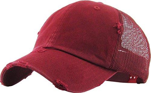 Cap Supreme Profile Low - KBETHOS Vintage Washed Distressed Cotton Dad Hat Baseball Cap Adjustable Polo Trucker Unisex Style Headwear (Vintage Mesh) Burgundy Adjustable