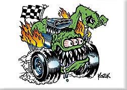 Artist Frank Kozik Butt Racer (Fink Eyes Hot Rod Monster) Fridge Magnet (Posters Fink Rat)