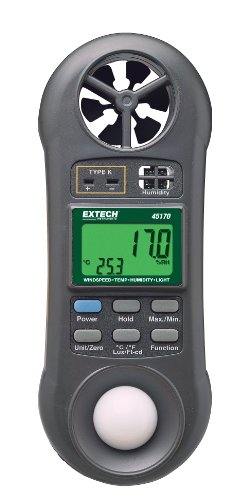 Extech 45170 Four in One Environmental Meter (Hygro-Thermo-Anemometer-Light) by Extech