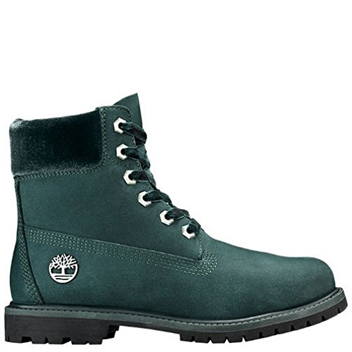 Timberland Women's 6'' Premium Leather and Fabric Waterproof Boot Dark Green Nubuck/Velvet Collar 8.5 B US