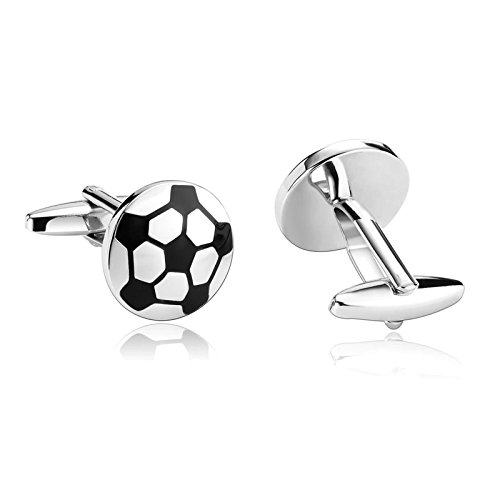 Enamel Genuine Cufflinks - Aooaz Cufflinks Enamel Mens Sports Soccer Football S Shirt Silver Black Stainless Steel Cufflink For Men
