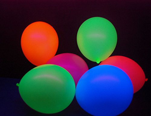DirectGlow Brand Set of 50 Assorted 11 inch UV Blacklight Reactive Latex Balloons (6 Color Mix)