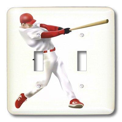 3dRose lsp_38990_2 Baseball Player Swings Bat Double Toggle Switch