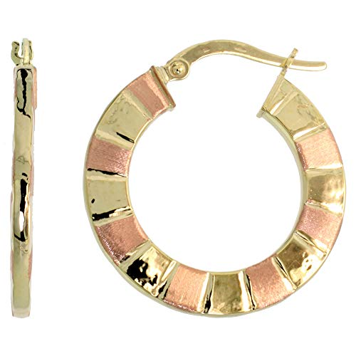 10K Two Tone Gold Flat Hoop Earrings Yellow and Rose Stripe Pattern Italy 1 ()