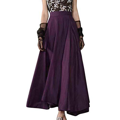Ladies Chiffon Lengthy Skirt Boho Elastic Waist Flooring Size Massive Hem Stable Seashore Maxi Skirt (XXL, Purple (S-XXL))