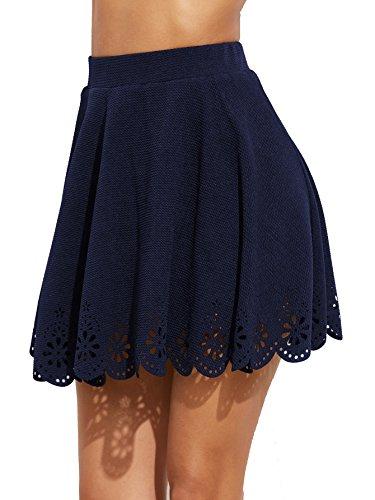 Blue Solid Skirt (SheIn Women's Basic Solid Cutout Scallop Hem Flared Mini Skater Skirt Small Navy)