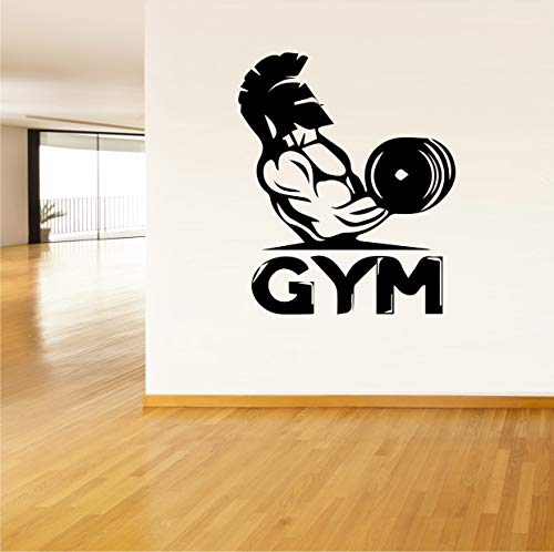 Vinyl Sticker Man Dumbbell Muscles Sport Fitness Club Work Out Strong Gym Mural Decal Wall Art Decor EH1159