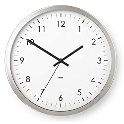 Umbra Wall Clock - 12 Round Metal Frame - Battery Operated - Decorative Wall Clock Perfect for Dorm, Kitchen, Nursery, Office, School, Hospital - with Silent Second-Hand
