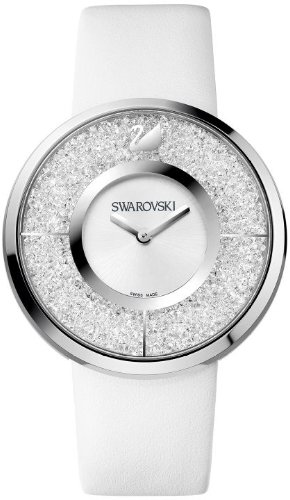 Swarovski Crystalline White Dial Calfskin Leather Strap Q...