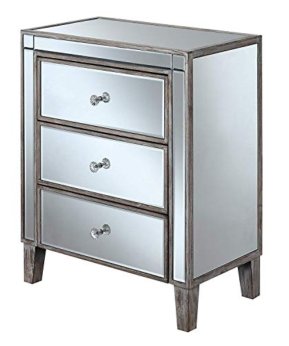 Convenience Concepts 413859WW Gold Coast 3 Drawer Mirrored End Table, Weathered White