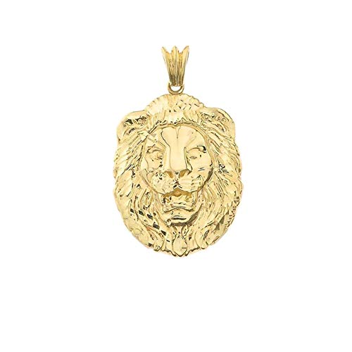 Bold 14k Yellow Gold Sparkle-Cut Lion Statement Pendant (Medium) ()